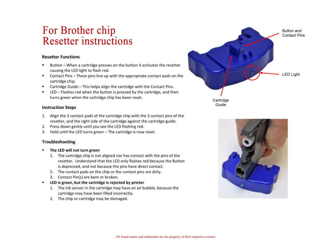 For Brother Resetter Instructions