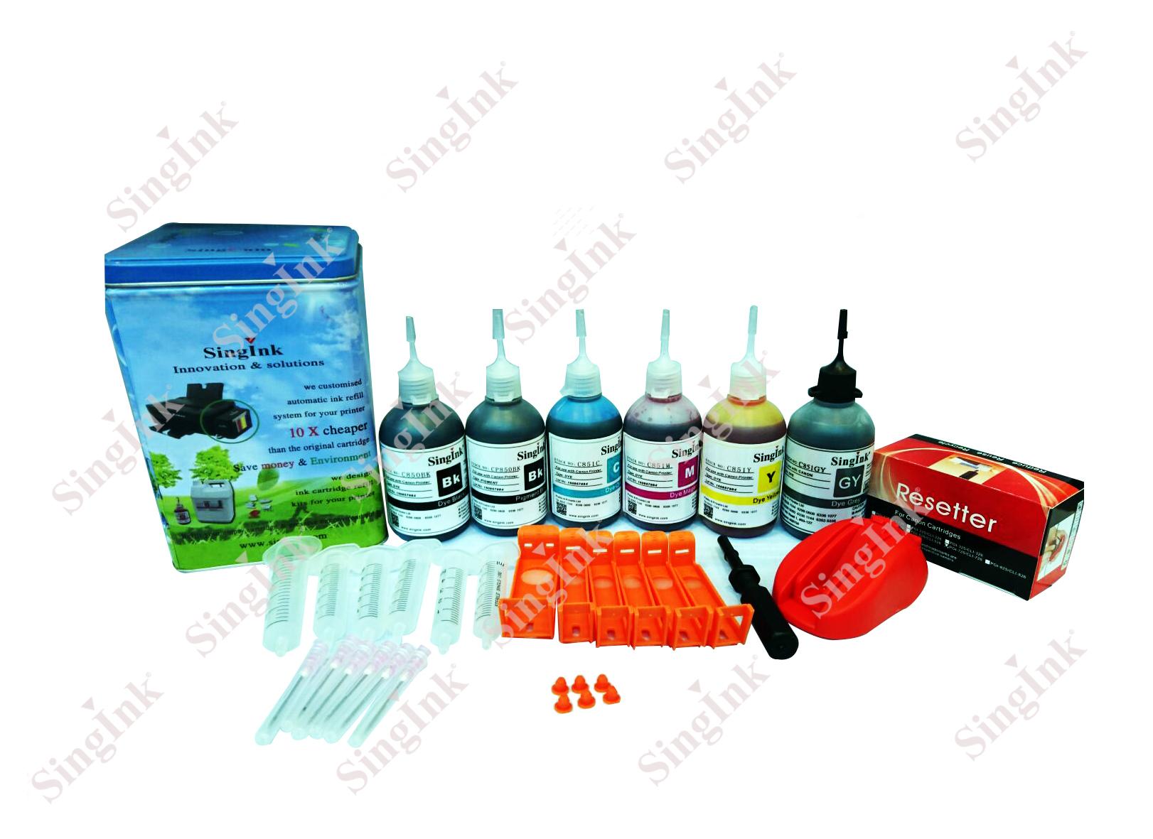 For Canon 725 726 6 Color Cartridge Refill Kit Singink Tinta 830 831 Original
